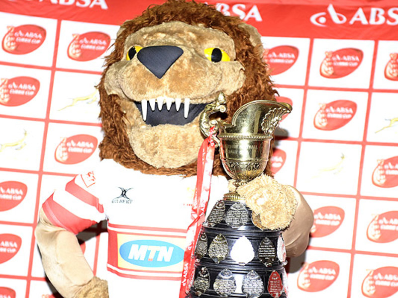 Large lions mascot with cc trophy
