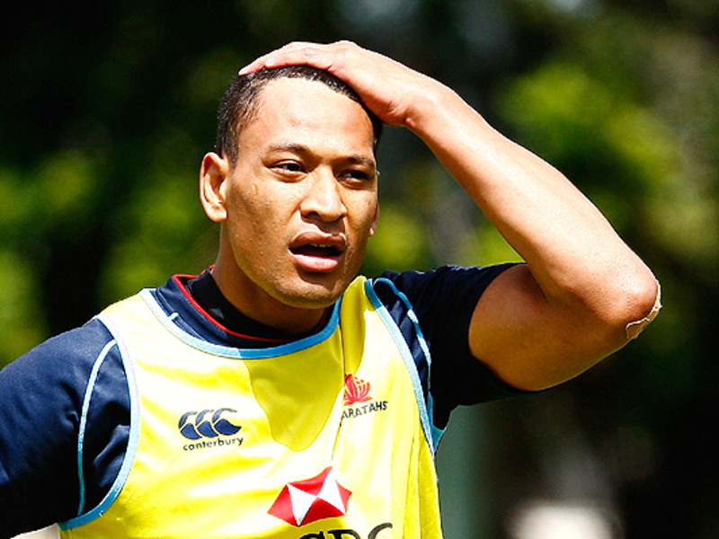 Large israel folau tahs training