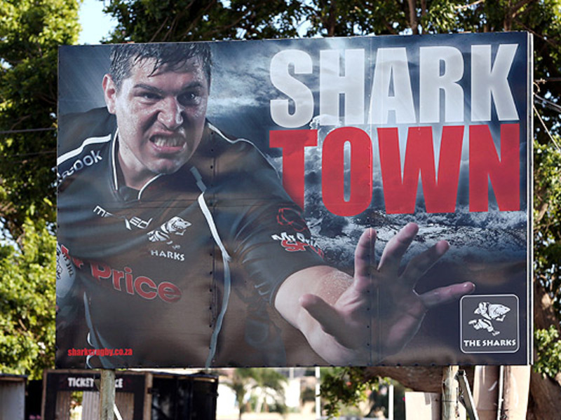 Large sharks billboard