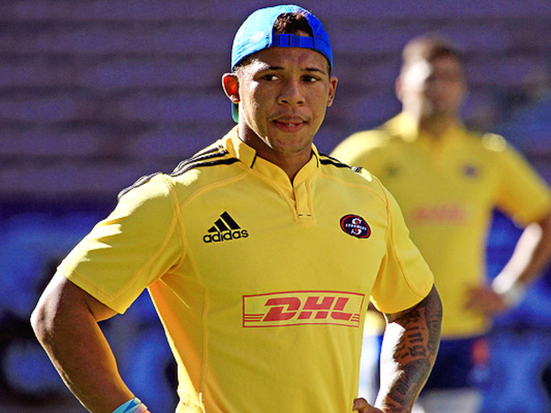 Large elton jantjies hands on hip
