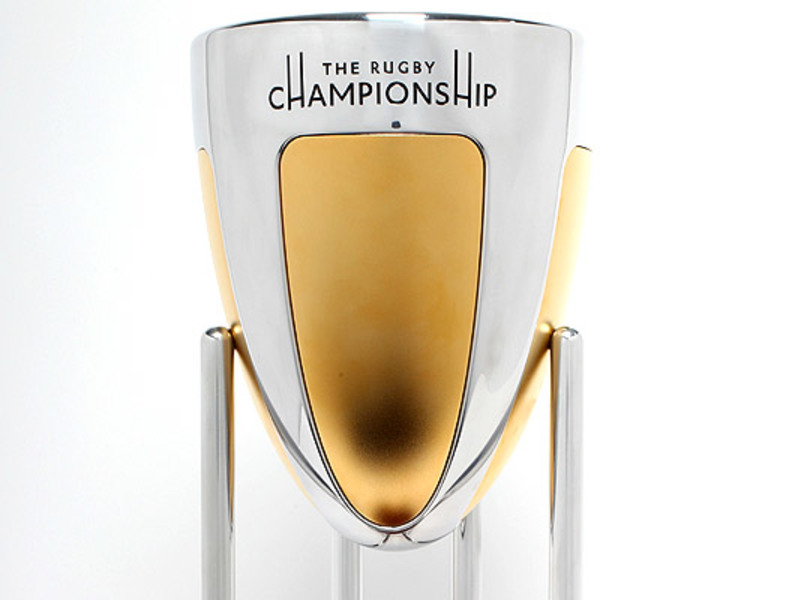 Large rugby championship trophy