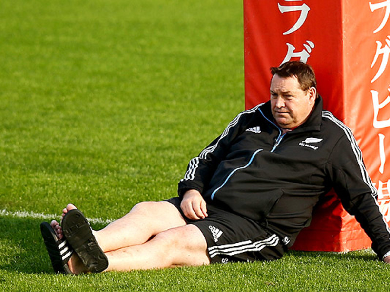 Large steve hansen against post