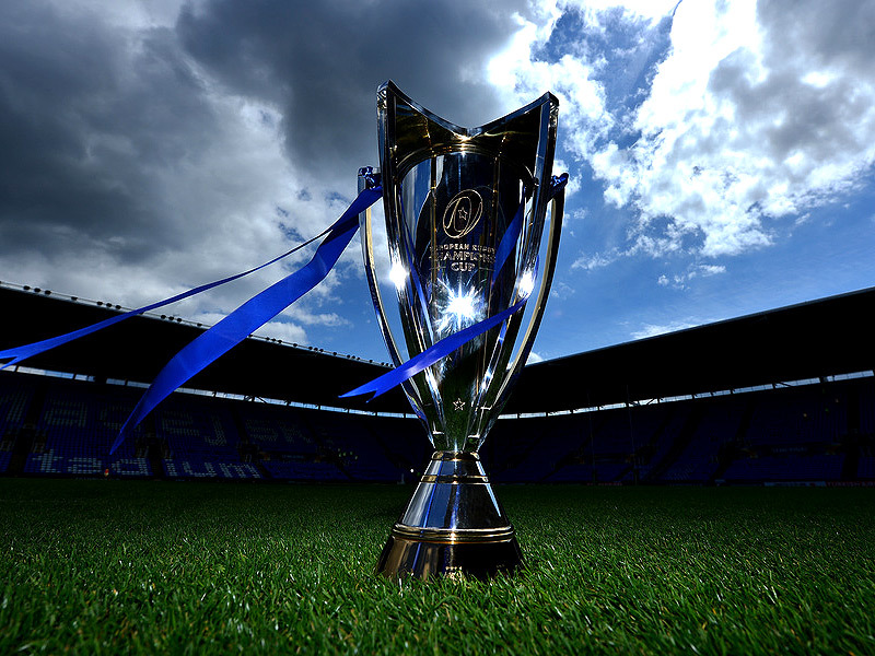 Large champions cup trophy inside stadium 800x600