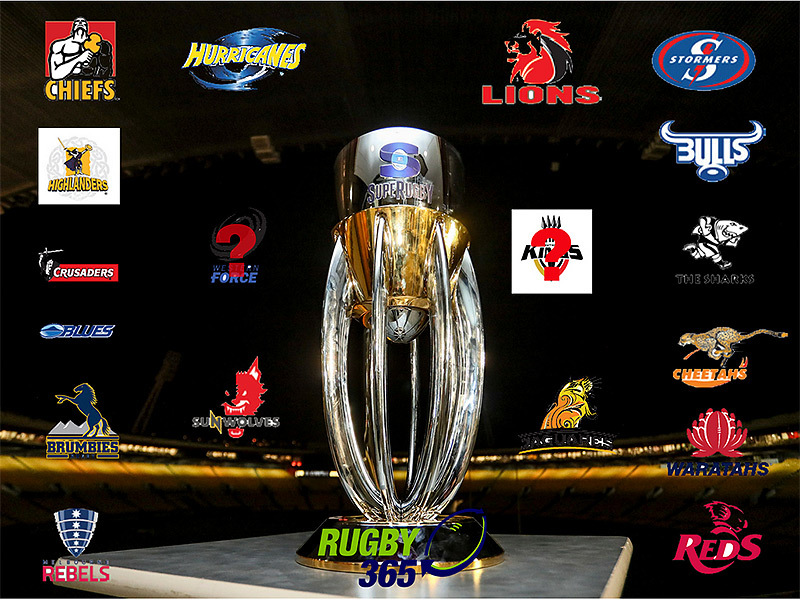 Large super rugby trophy with team logos 800