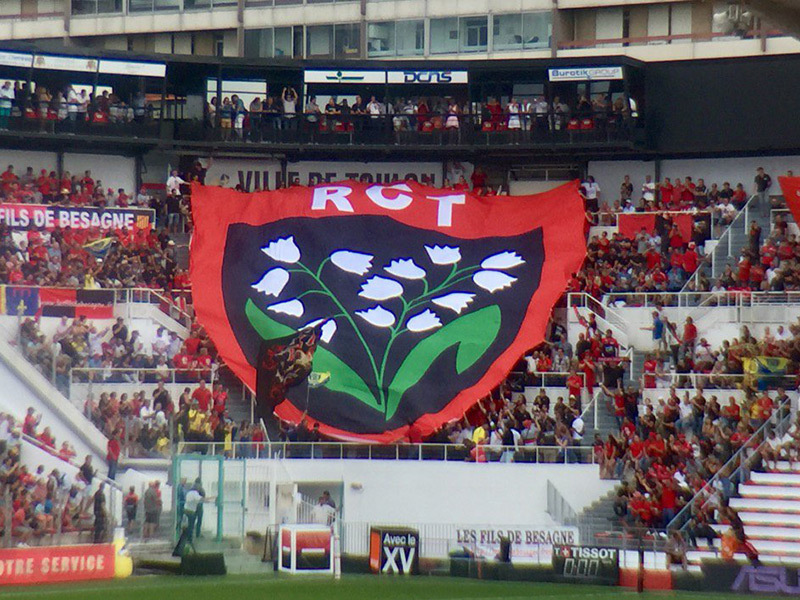 Large toulon flag in stand 800