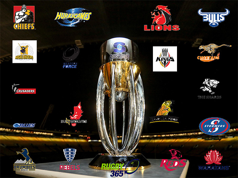 Large super rugby trophy with team logos 2 800