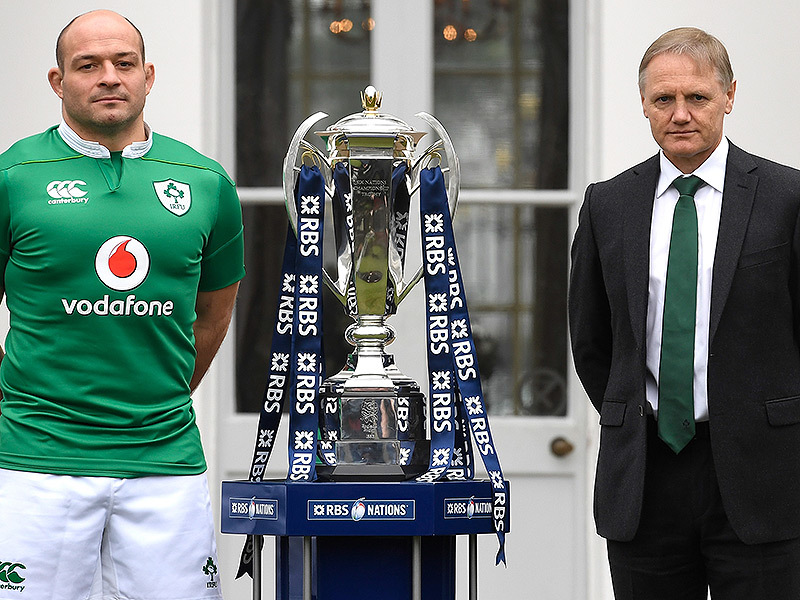 Large rory best and joe schmidt with six nations trophy 800