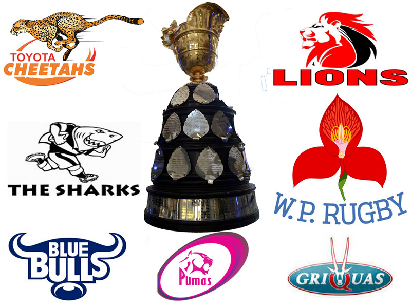 Currie cup trophy with team logos 800