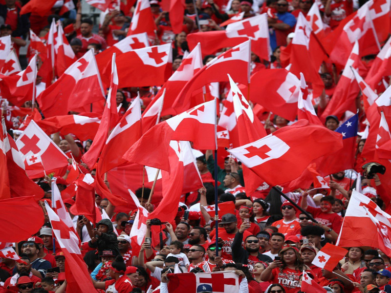 Large tonga rugby fans at 2017 ru
