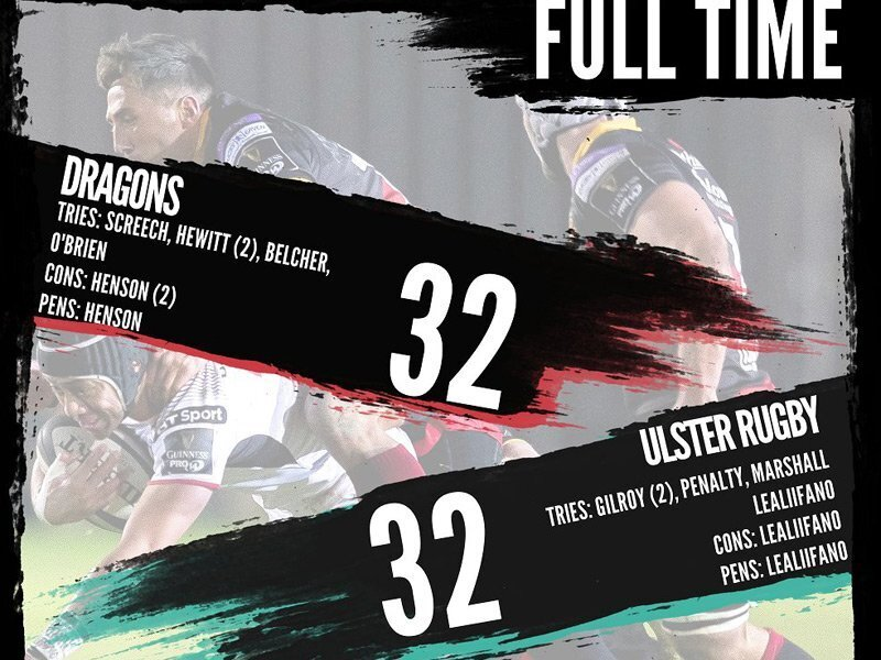 Wallaby secures draw for Ulster against Dragons