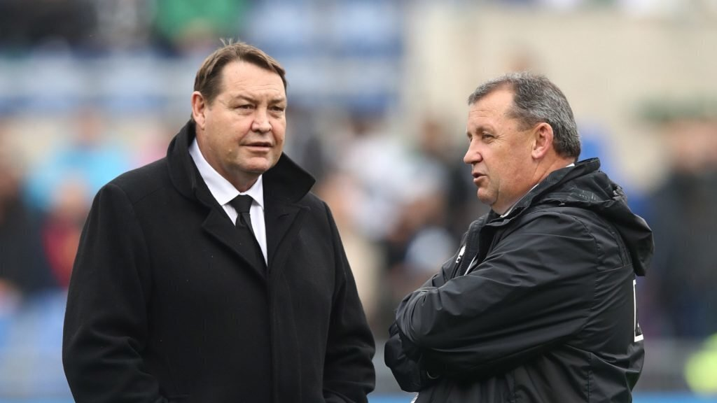 Steve Hansen and Ian Foster in Rome 2018