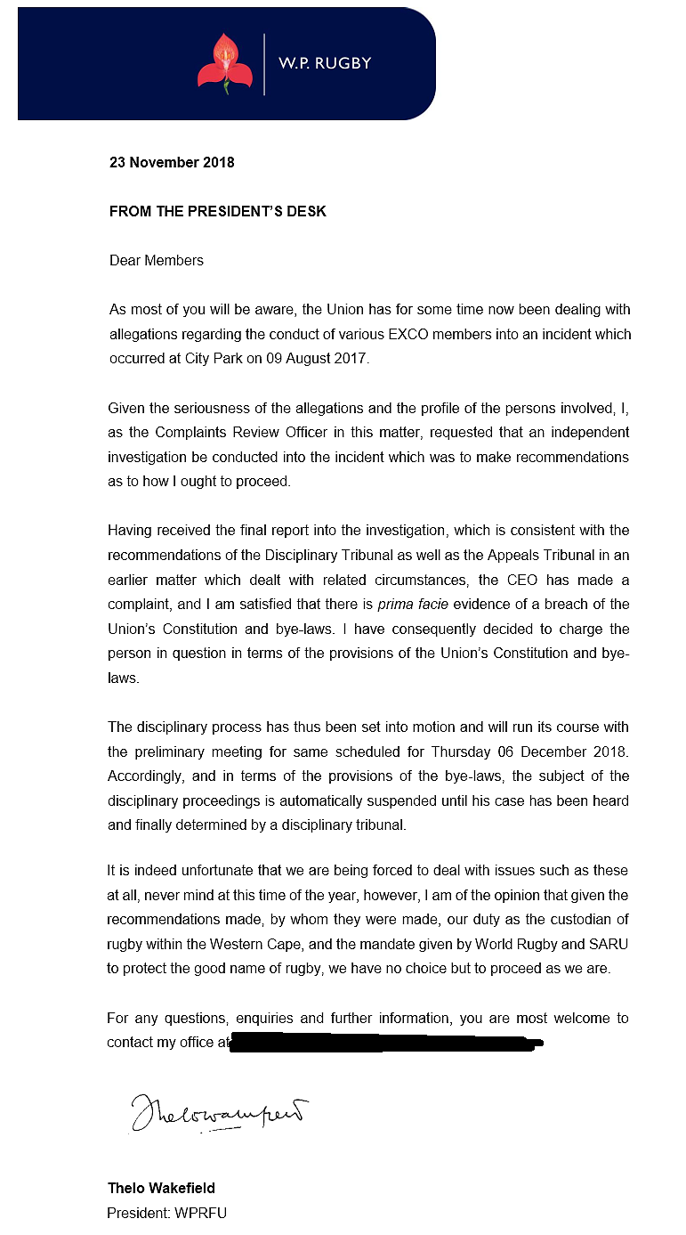 Thelo Wakefield statement