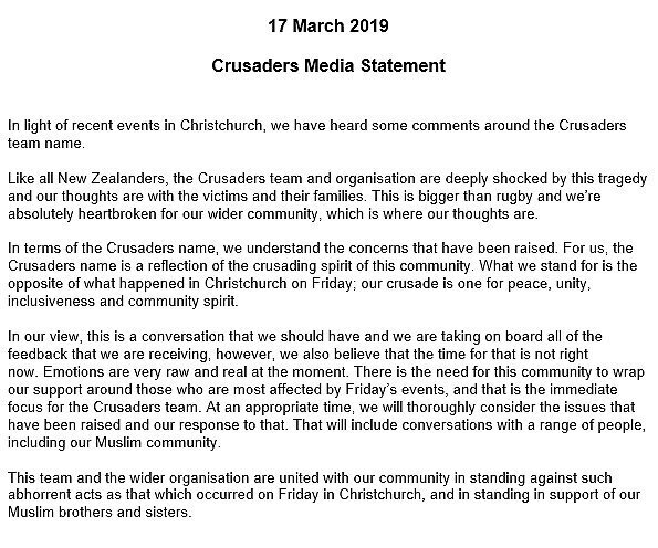 Crusaders statement on name controversy
