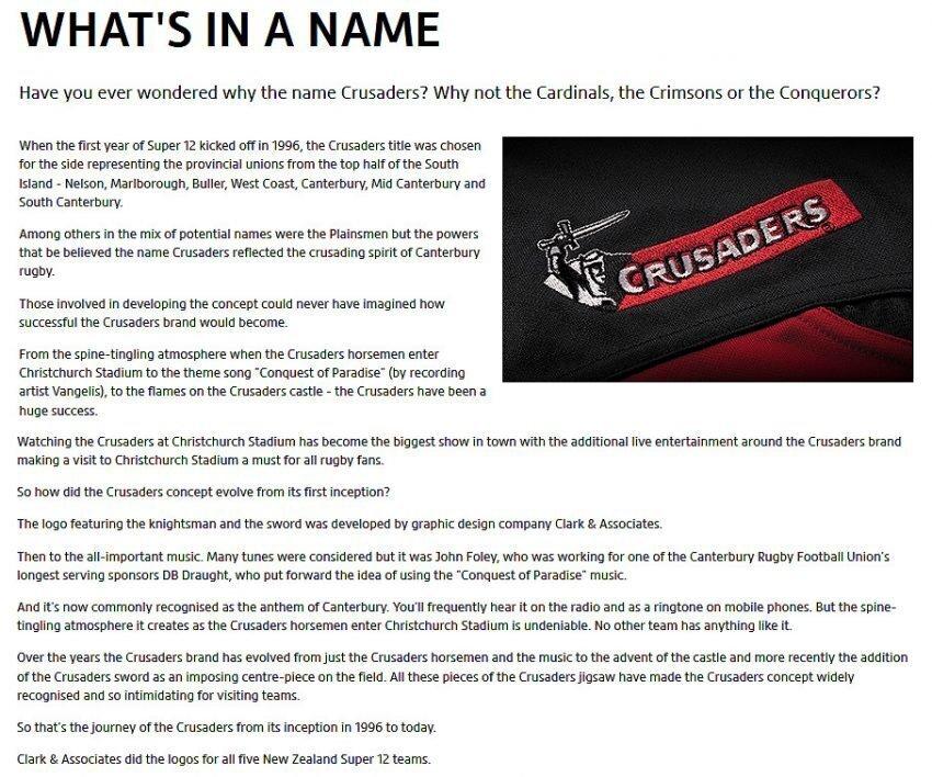 Crusaders name