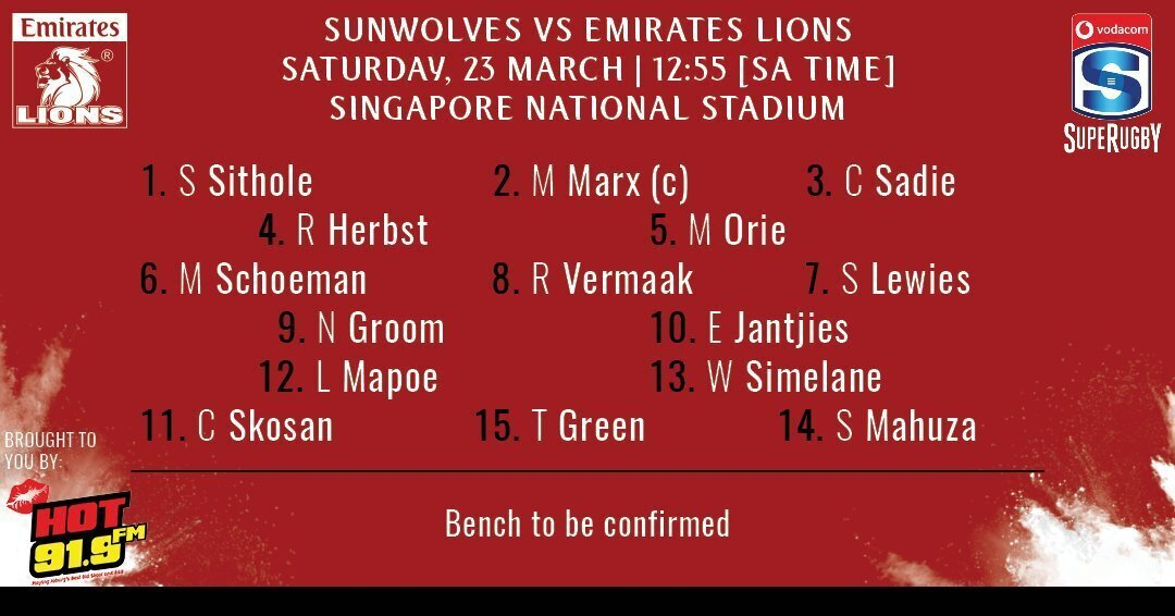 Lions team to play the Sunwolves