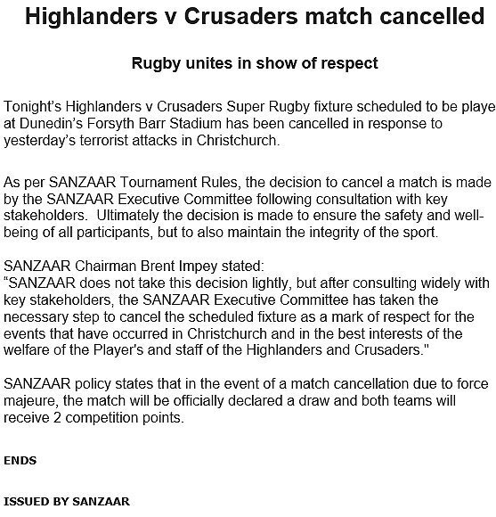 SANZAAR media release on Highlanders v Crusaders match