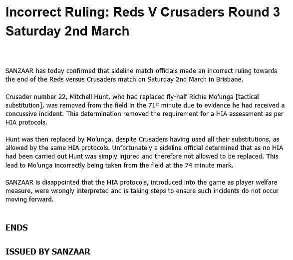 SANZAAR media release