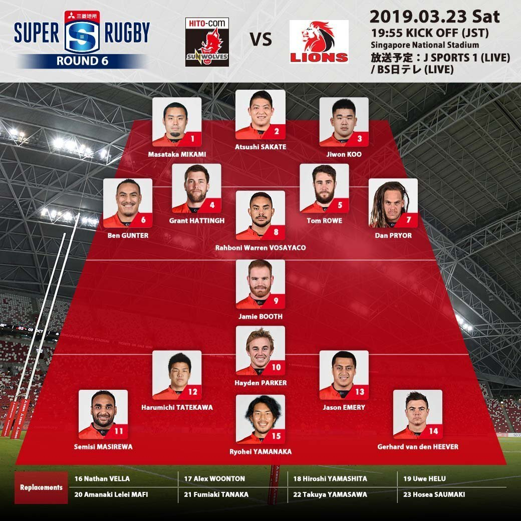 Sunwolves team to play Lions 23-3-2019
