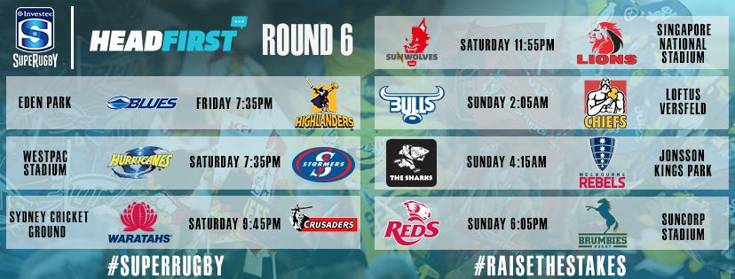 Super Rugby Round Six fixtures