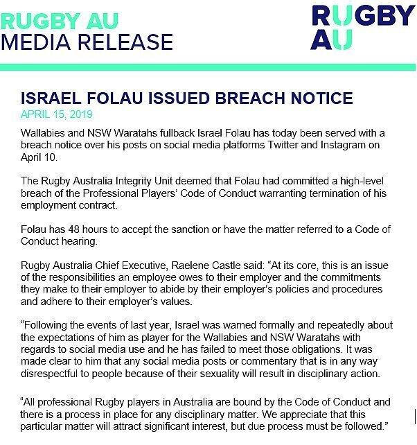 Rugby Australia statement on Israel Folau