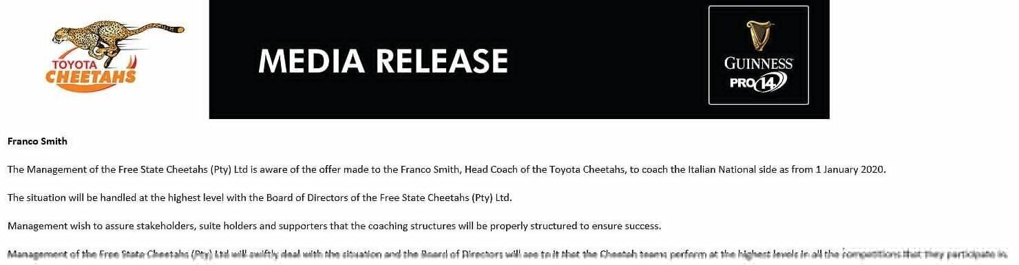 Cheetahs statement on Franco Smith