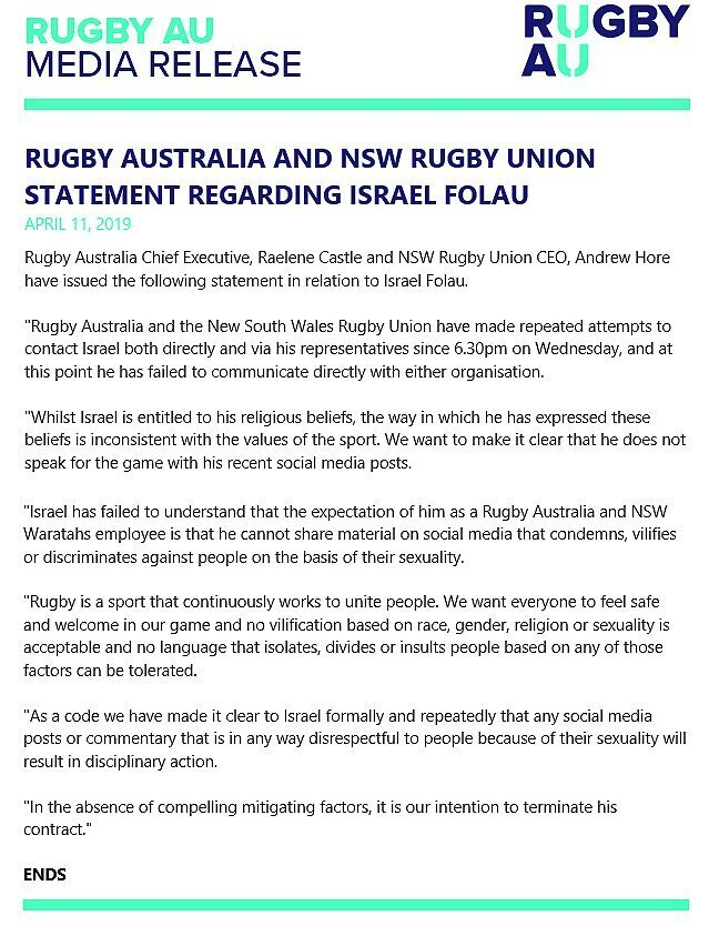 Rugby Australia to terminate Folau's contract