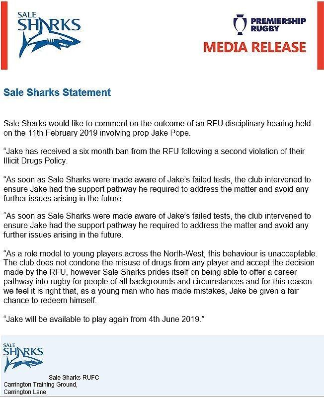 Sale-Sharks-statement-on-drug-ban