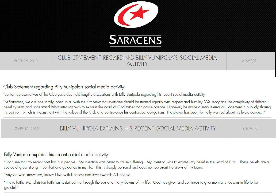 Saracens & Vunipola statements