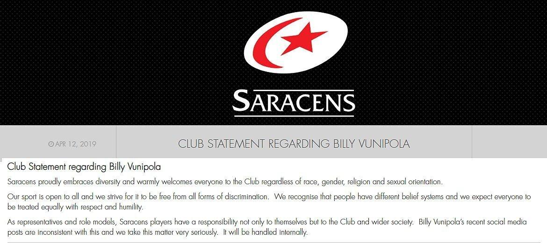 Saracens statement on Vunipola