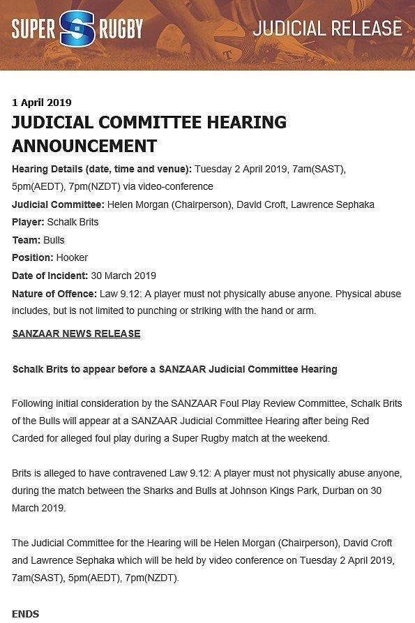Schalk Brits hearing media release
