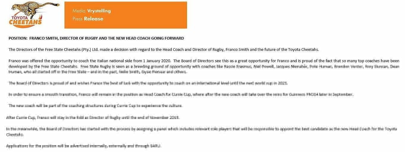 Cheetahs statement