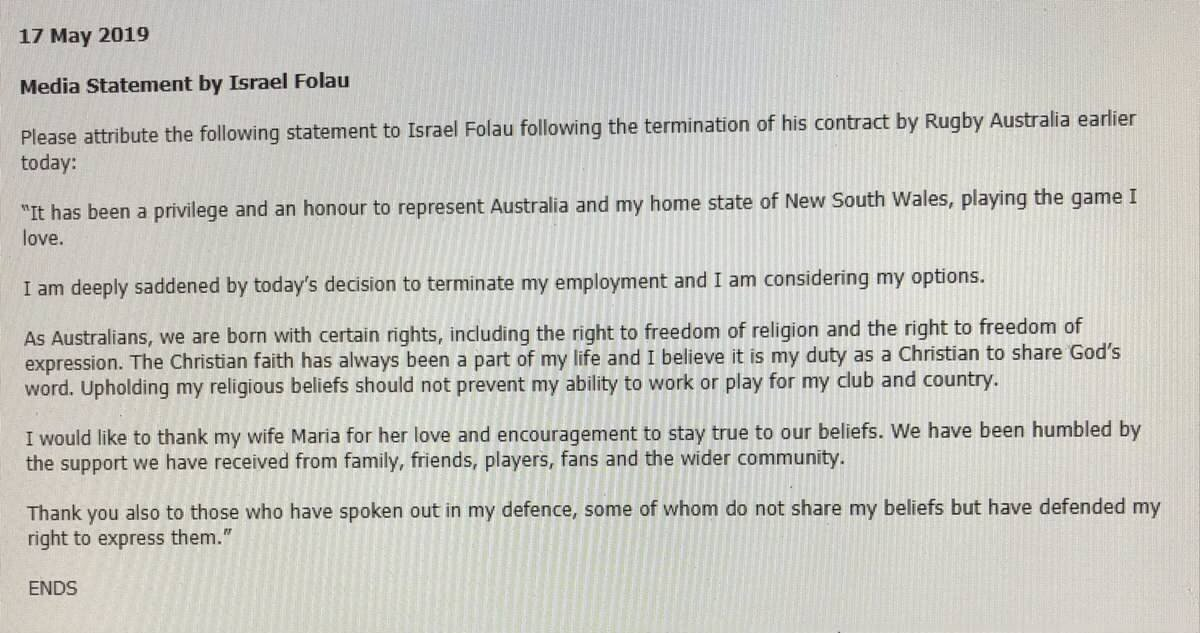 Israel Folau statement after his axing