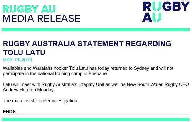Rugby Australia statement