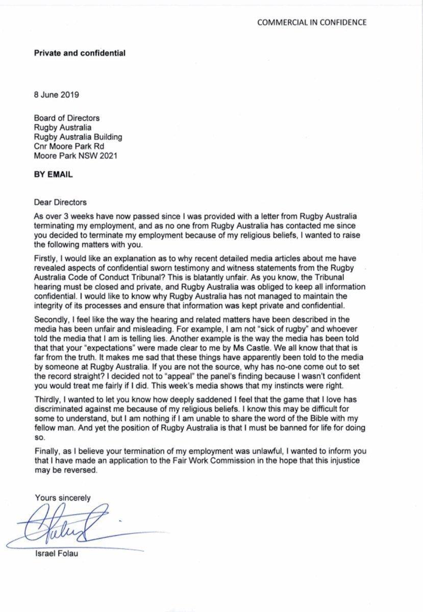 Israel Folau letter