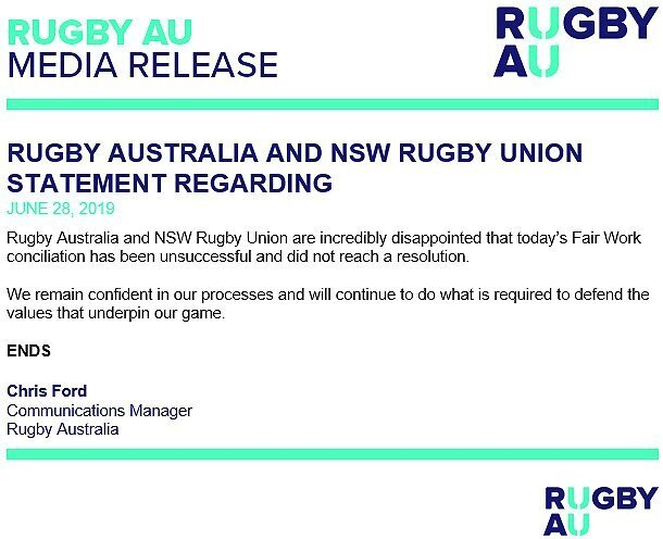 Rugby Australia statement