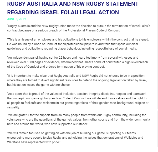 Rugby Australia, NSW respond to Folau's legal action