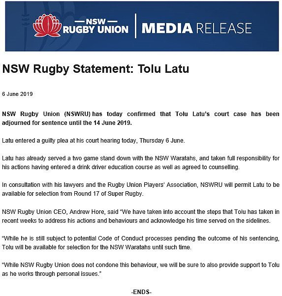 Waratahs statement