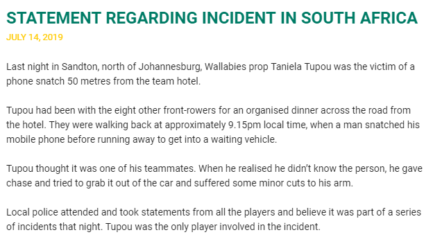 VIDEO: Wallaby prop's stab wounds after mugging in SA