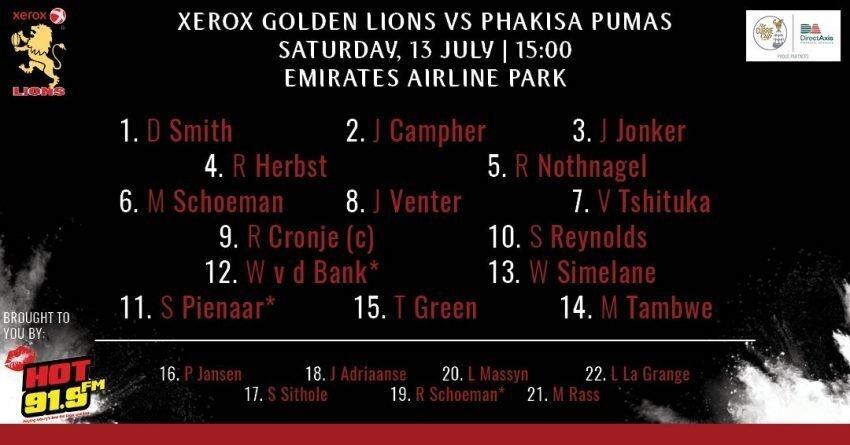 Lions team v Pumas