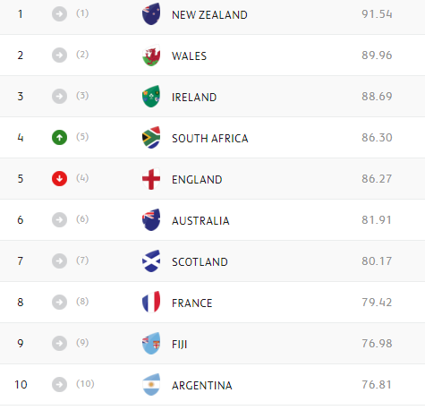 WORLD RANKINGS: Springboks overtake England
