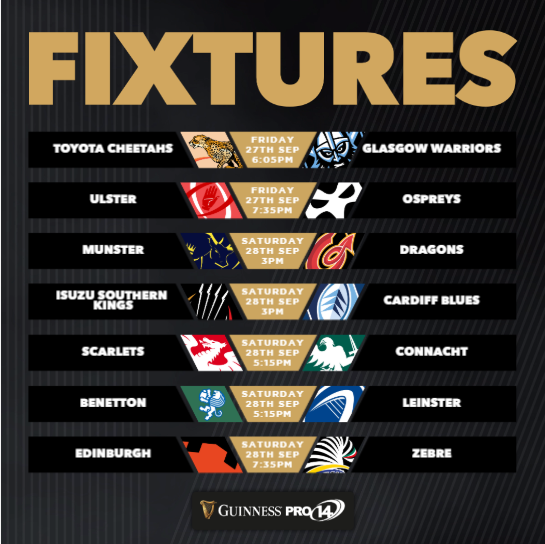 Pro14 Week One fixtures