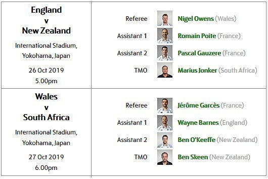 Referees for World Cup semifinals