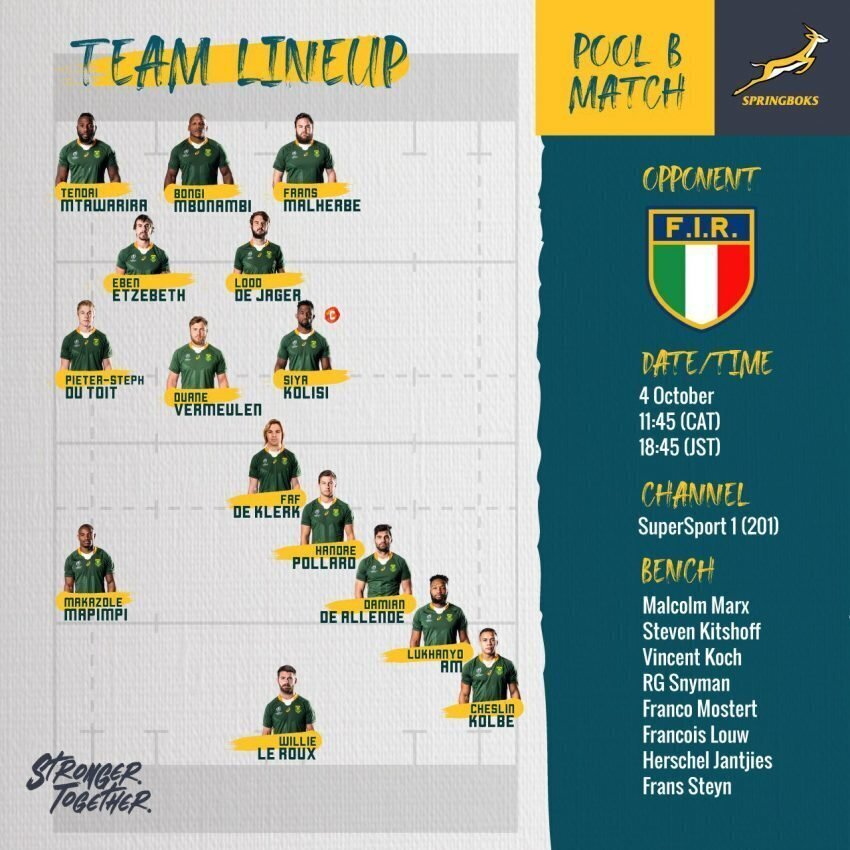 Springbok team to face Italy