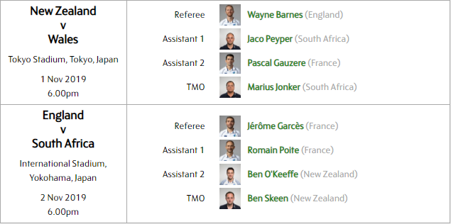 World Cup Final match officials 2019