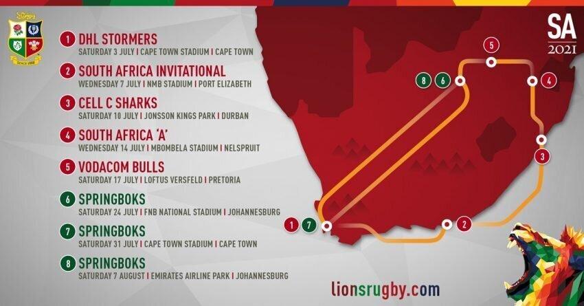 B&I Lions 2021 Schedule