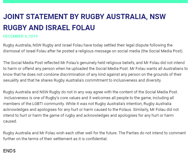RA and Folau joint statement DEC 2019