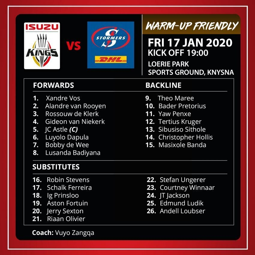 Kings team to face Stormers