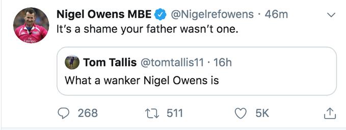 Nigel Owens' response