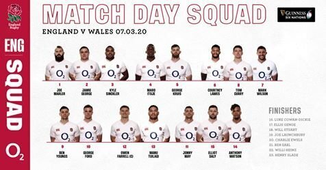 England team to play Wales