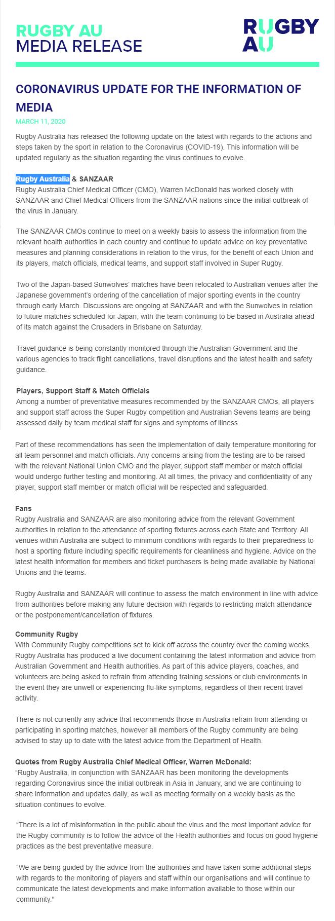 Rugby Australia Coronovirus update